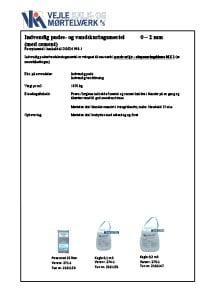 Indvendig pudse / vandskuringsmørtel 0-2 mm leveret med cement